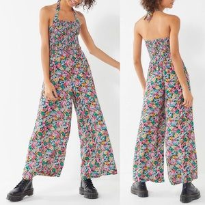 Urban Outfitters Lola Smocked Floral Jumpsuit